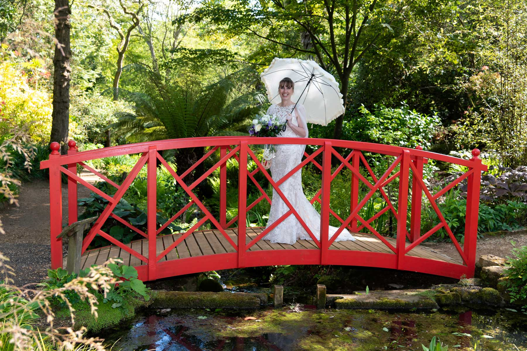 Beautiful bride ruth on one of our famous red bridges