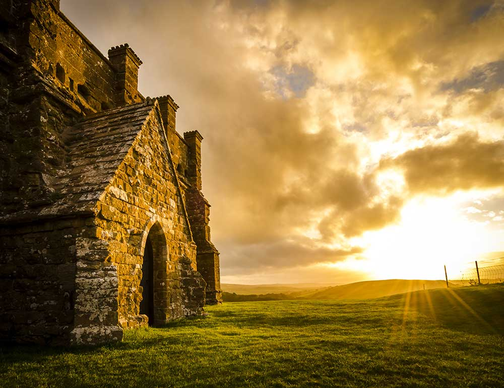 St Catherine's Chapel, Abbotsbury, at sunset